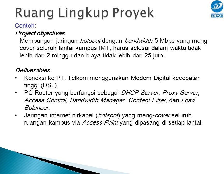 Ruang Lingkup Proyek Contoh: Project objectives