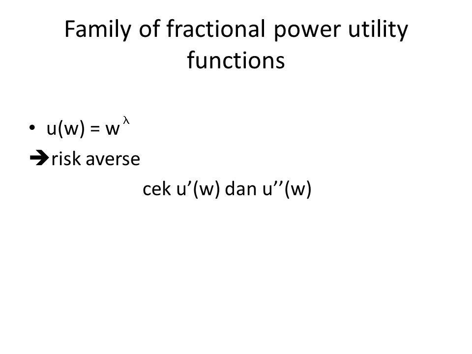 Family of fractional power utility functions