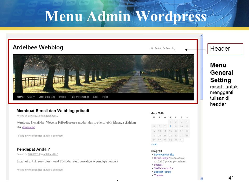 Menu Admin Wordpress Header