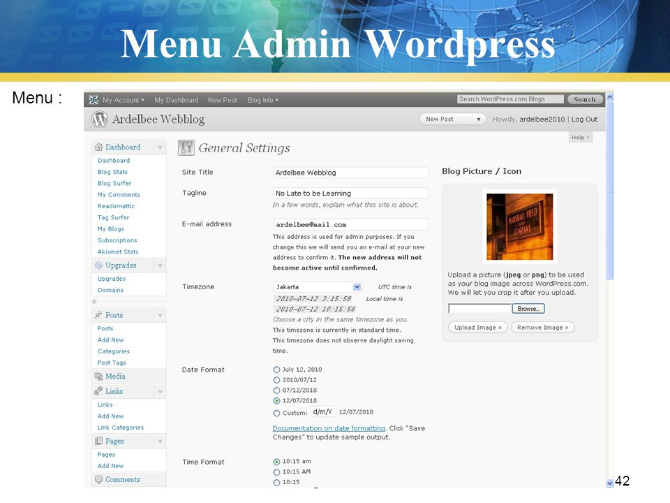 Menu Admin Wordpress Menu : Pengenalan TIK