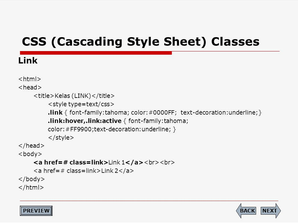 CSS (Cascading Style Sheet) Classes