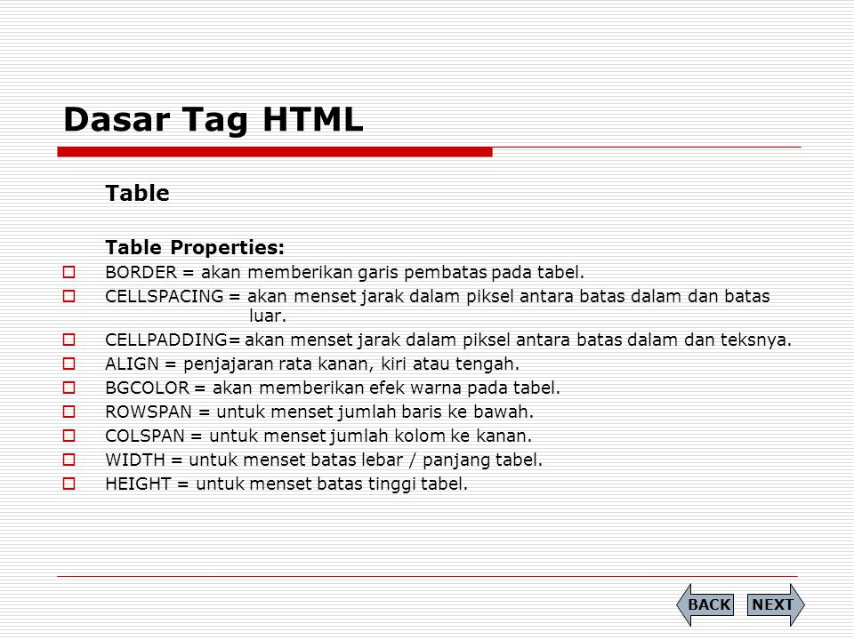 Dasar Tag HTML Table Table Properties: