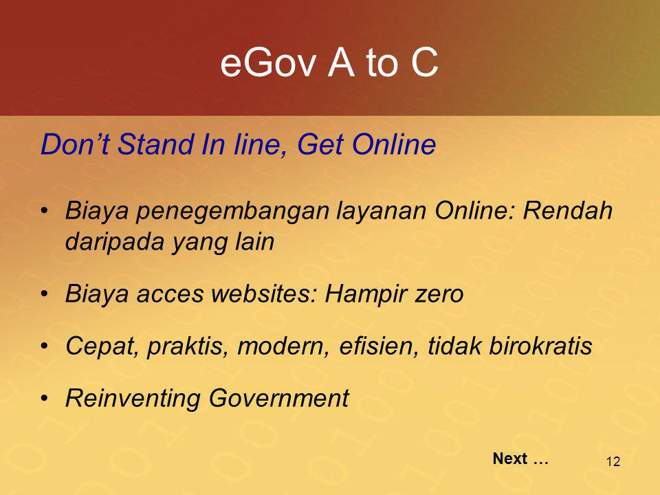 eGov A to C Don't Stand In line, Get Online