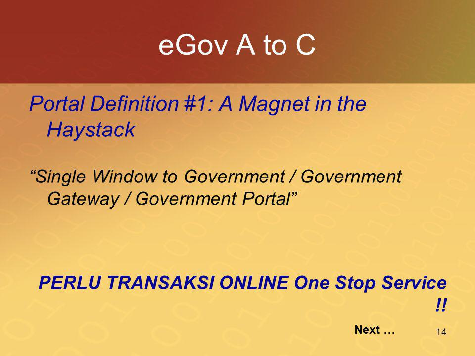 eGov A to C Portal Definition #1: A Magnet in the Haystack