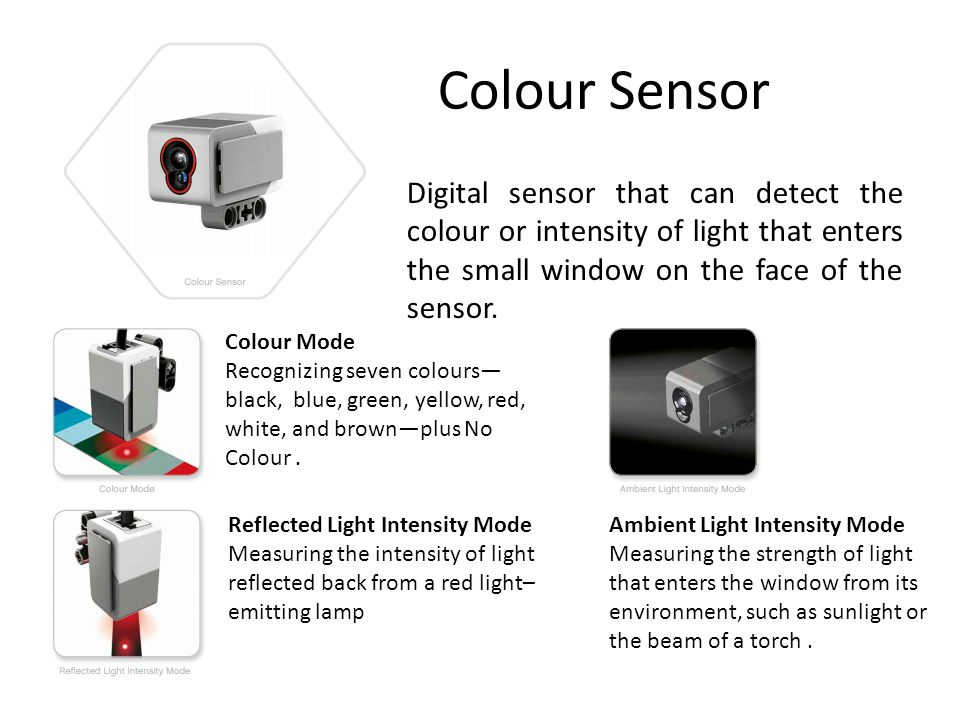 Colour Sensor Digital sensor that can detect the colour or intensity of light that enters the small window on the face of the sensor.