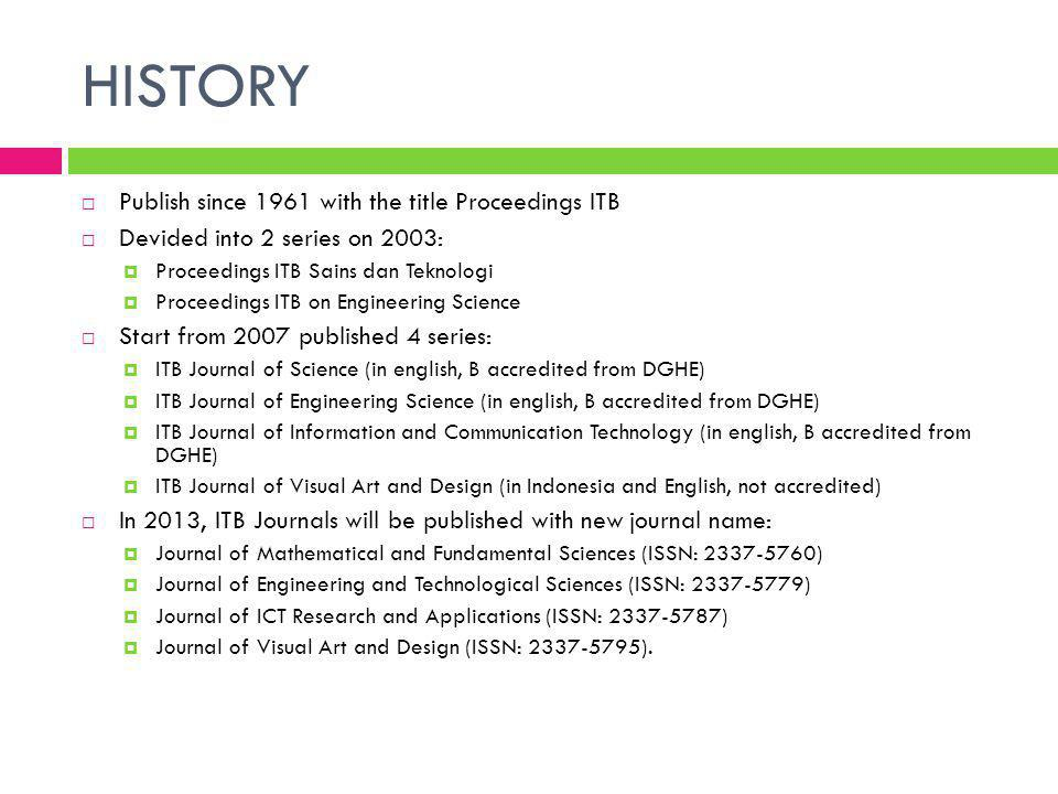 HISTORY Publish since 1961 with the title Proceedings ITB