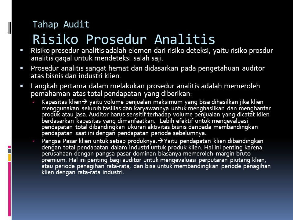 Tahap Audit Risiko Prosedur Analitis