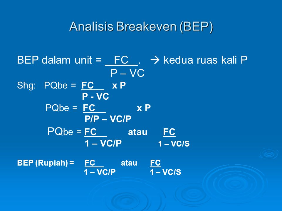 Analisis Breakeven (BEP)