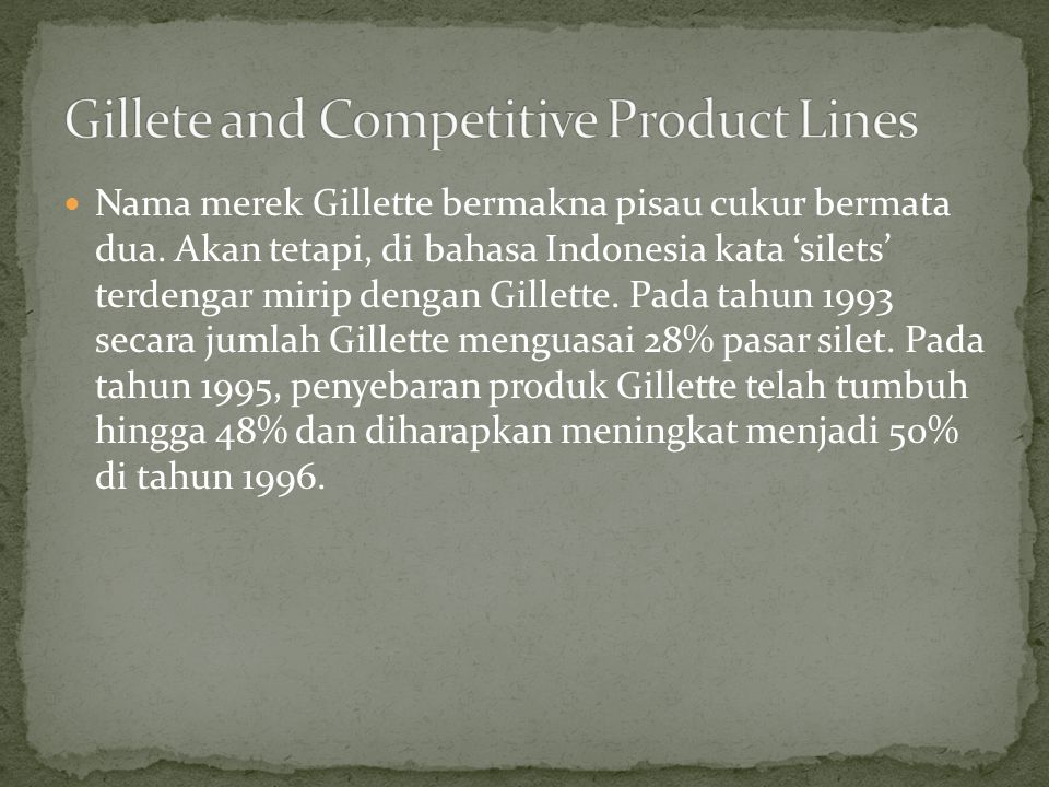 Gillete and Competitive Product Lines