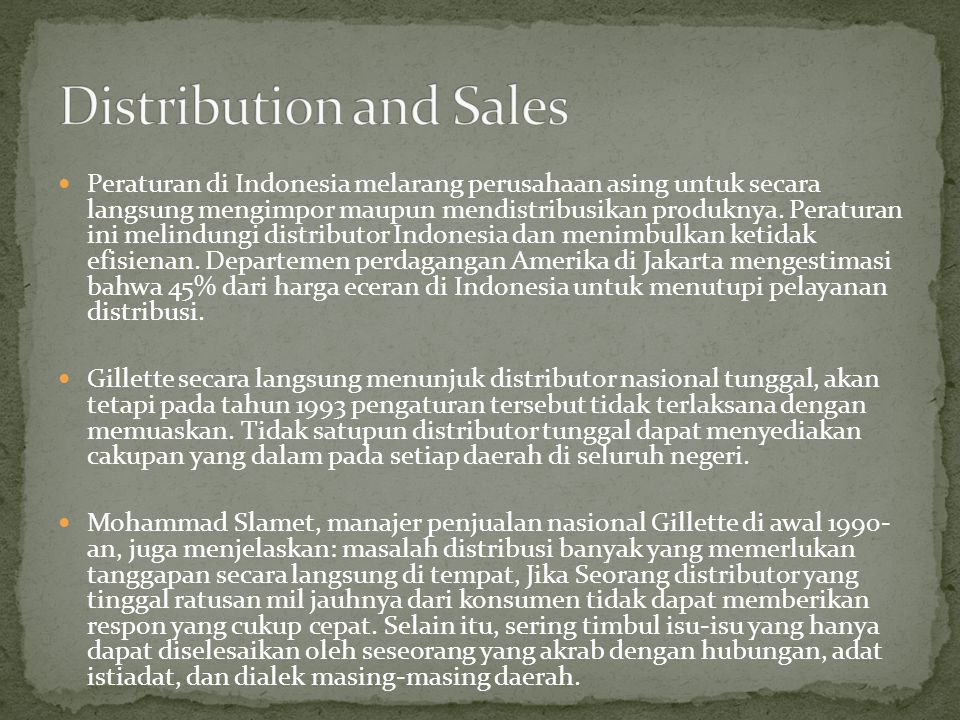 Distribution and Sales