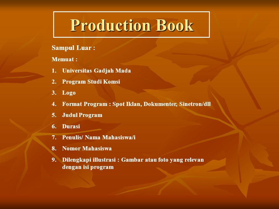 Production Book Sampul Luar : Memuat : Universitas Gadjah Mada