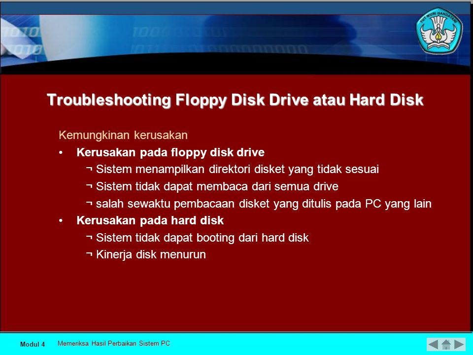 Troubleshooting Floppy Disk Drive atau Hard Disk
