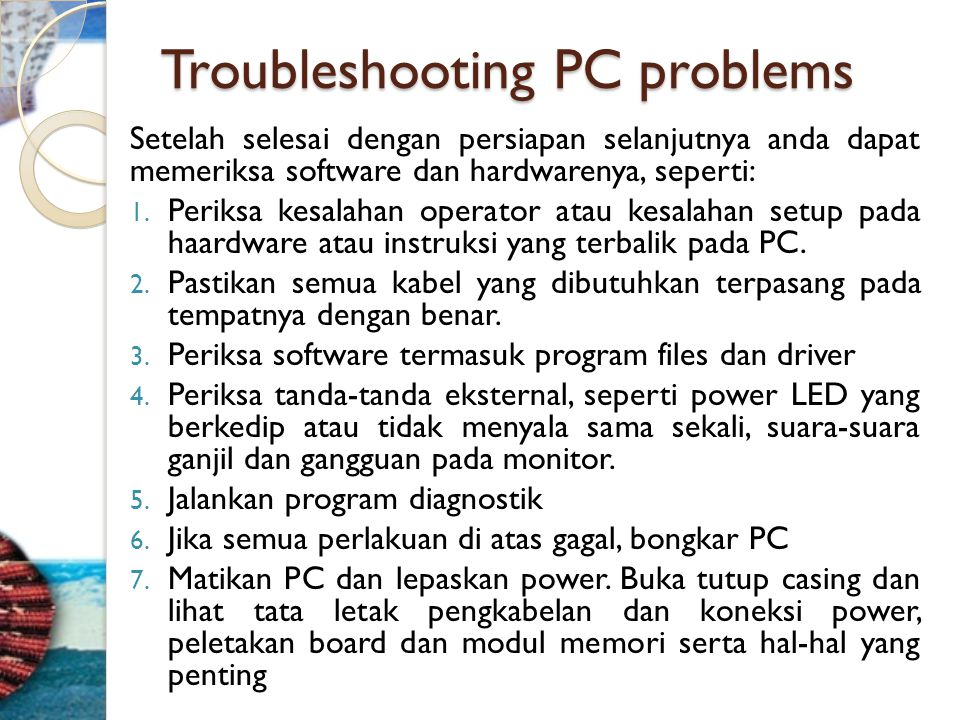 Troubleshooting PC problems