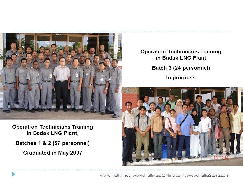 Operation Technicians Training in Badak LNG Plant