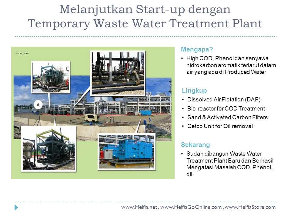 Melanjutkan Start-up dengan Temporary Waste Water Treatment Plant