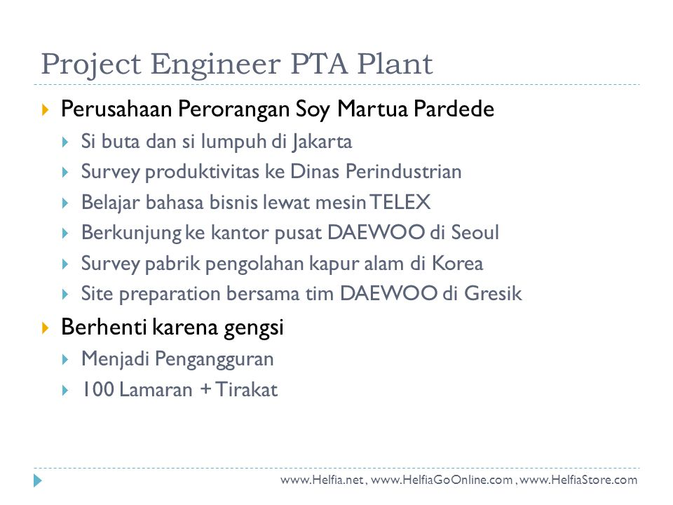 Project Engineer PTA Plant