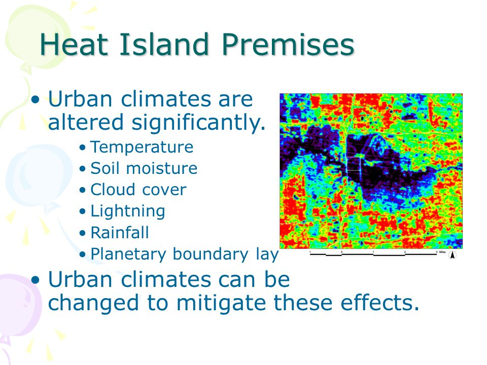 Heat Island Premises Urban climates are altered significantly.