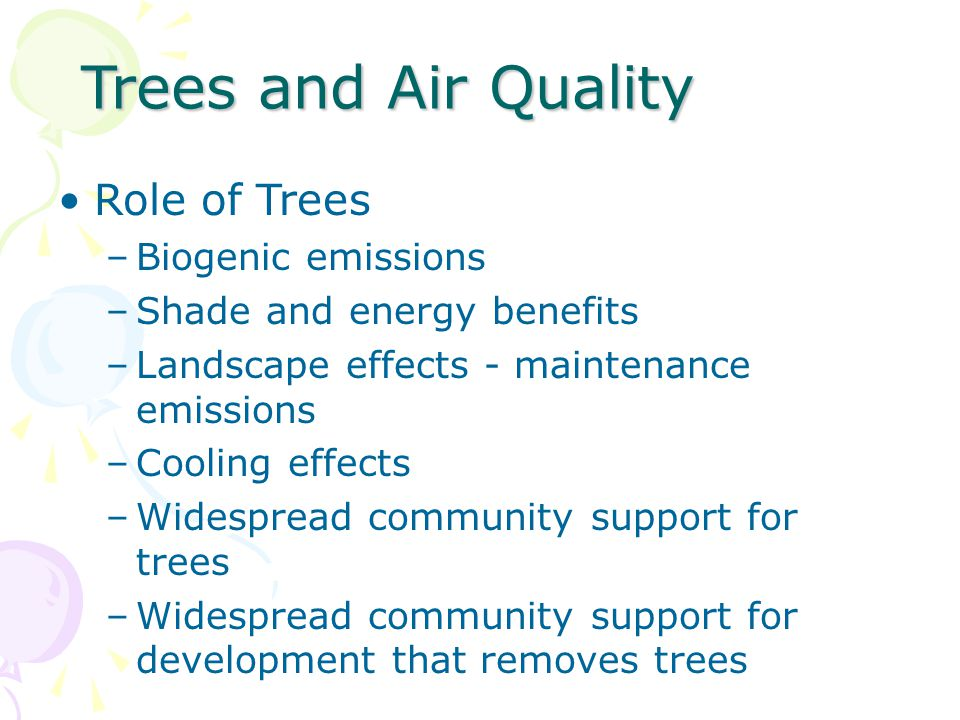 Trees and Air Quality Role of Trees Biogenic emissions