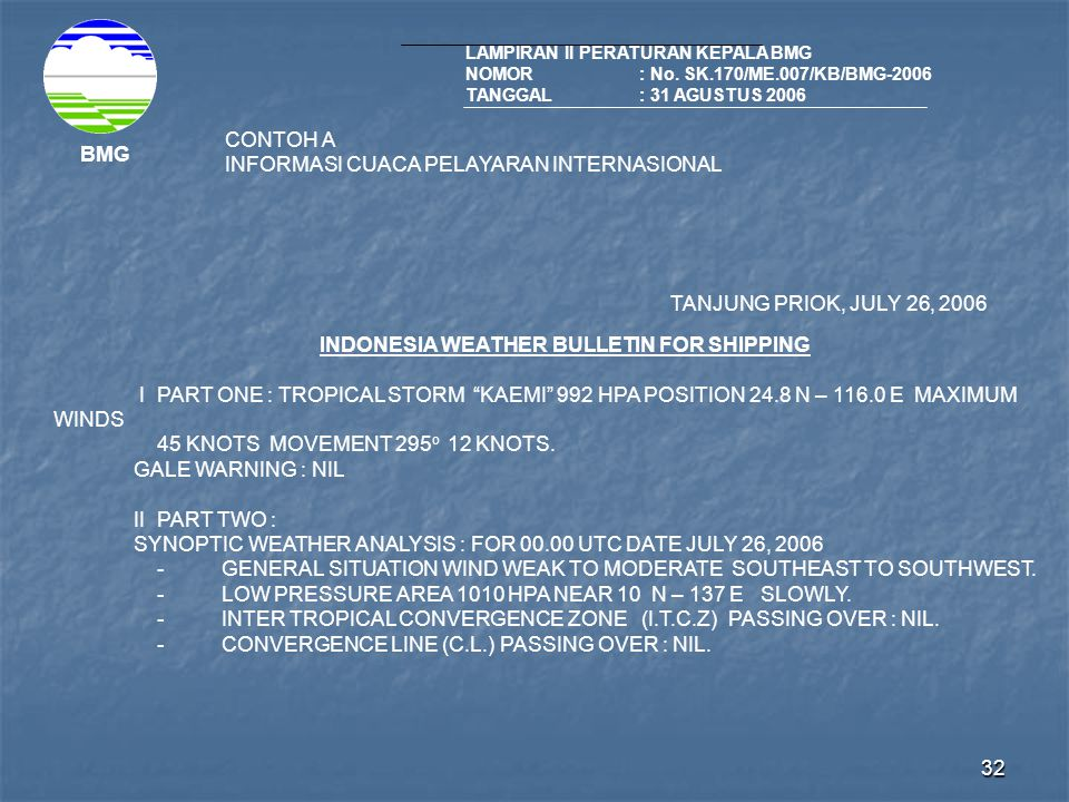 INDONESIA WEATHER BULLETIN FOR SHIPPING
