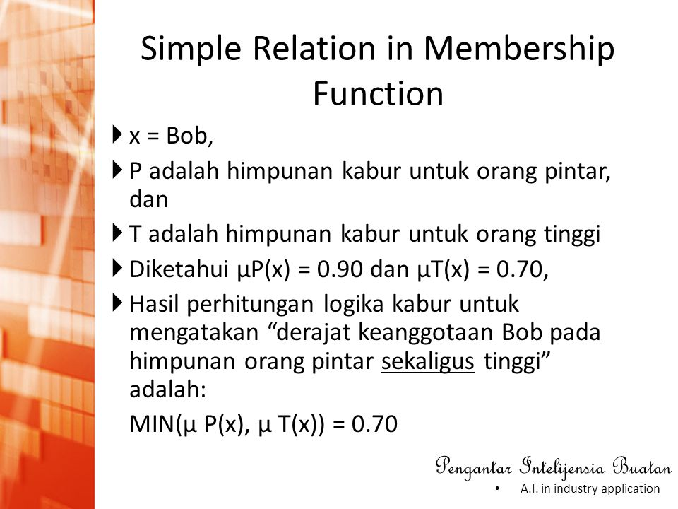 Simple Relation in Membership Function