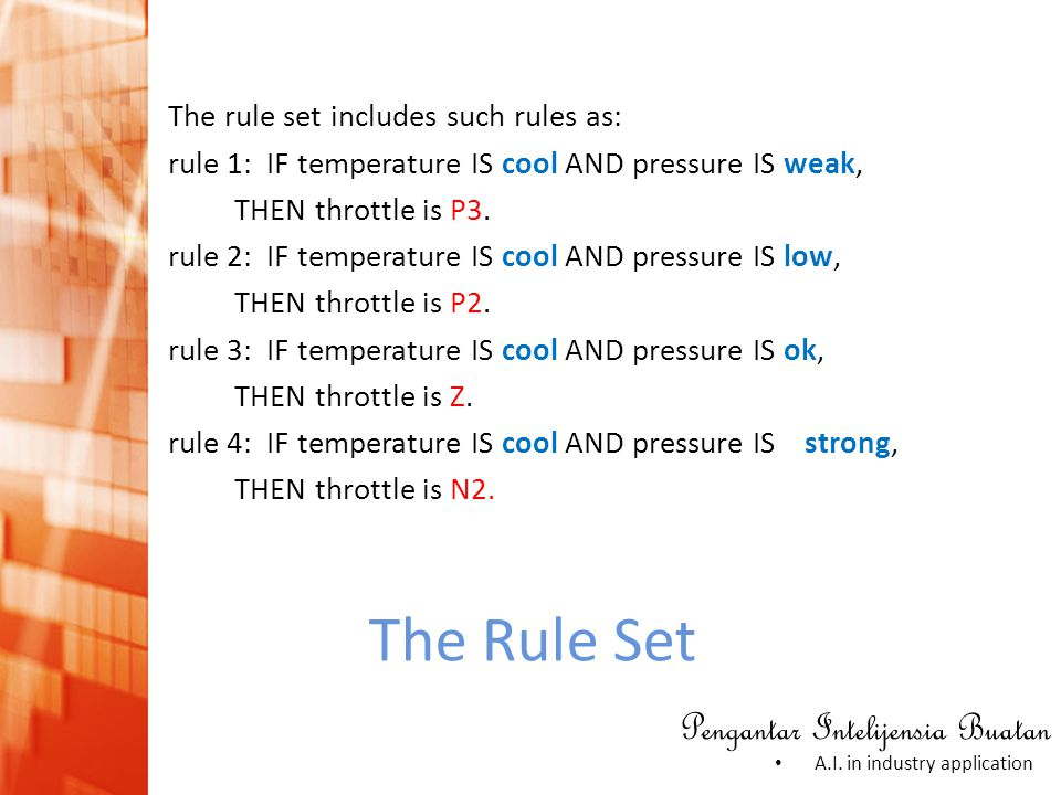 The rule set includes such rules as: rule 1: IF temperature IS cool AND pressure IS weak, THEN throttle is P3. rule 2: IF temperature IS cool AND pressure IS low, THEN throttle is P2. rule 3: IF temperature IS cool AND pressure IS ok, THEN throttle is Z. rule 4: IF temperature IS cool AND pressure IS strong, THEN throttle is N2.
