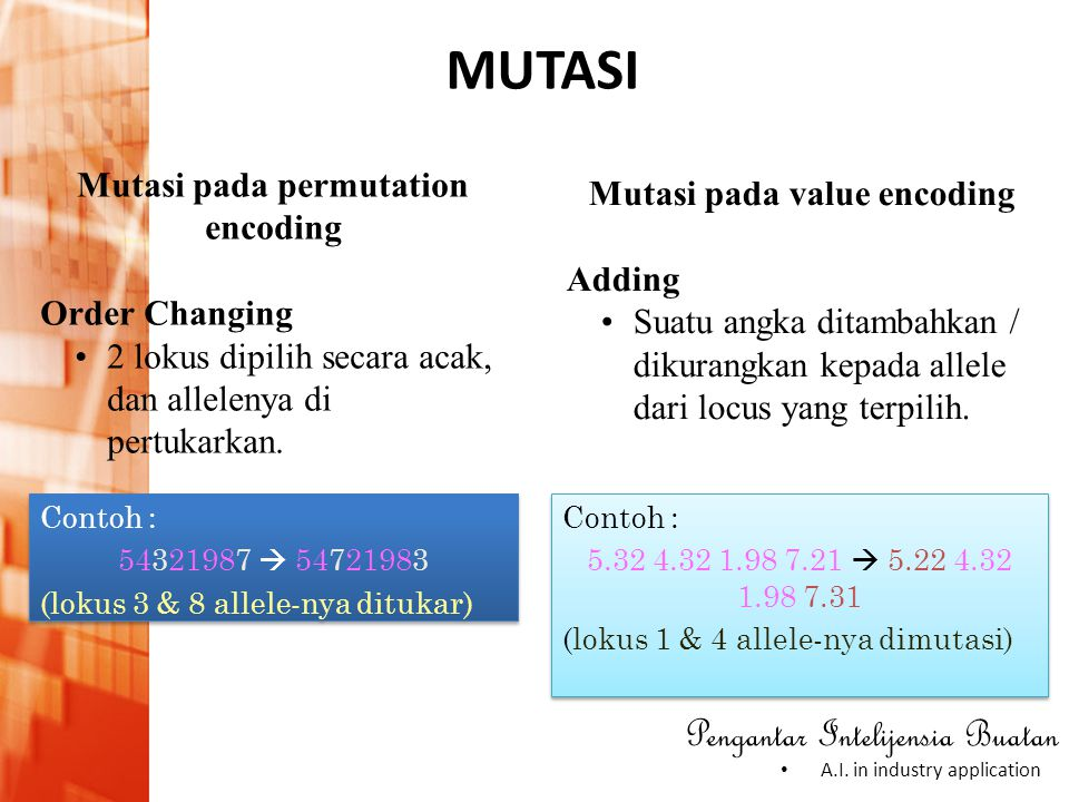 Mutasi pada permutation encoding Mutasi pada value encoding