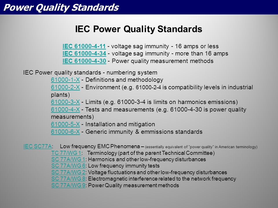 IEC Power Quality Standards