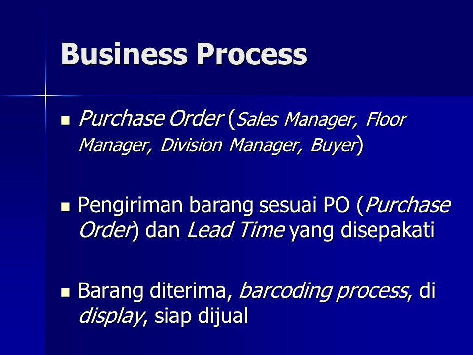 Business Process Purchase Order (Sales Manager, Floor Manager, Division Manager, Buyer)