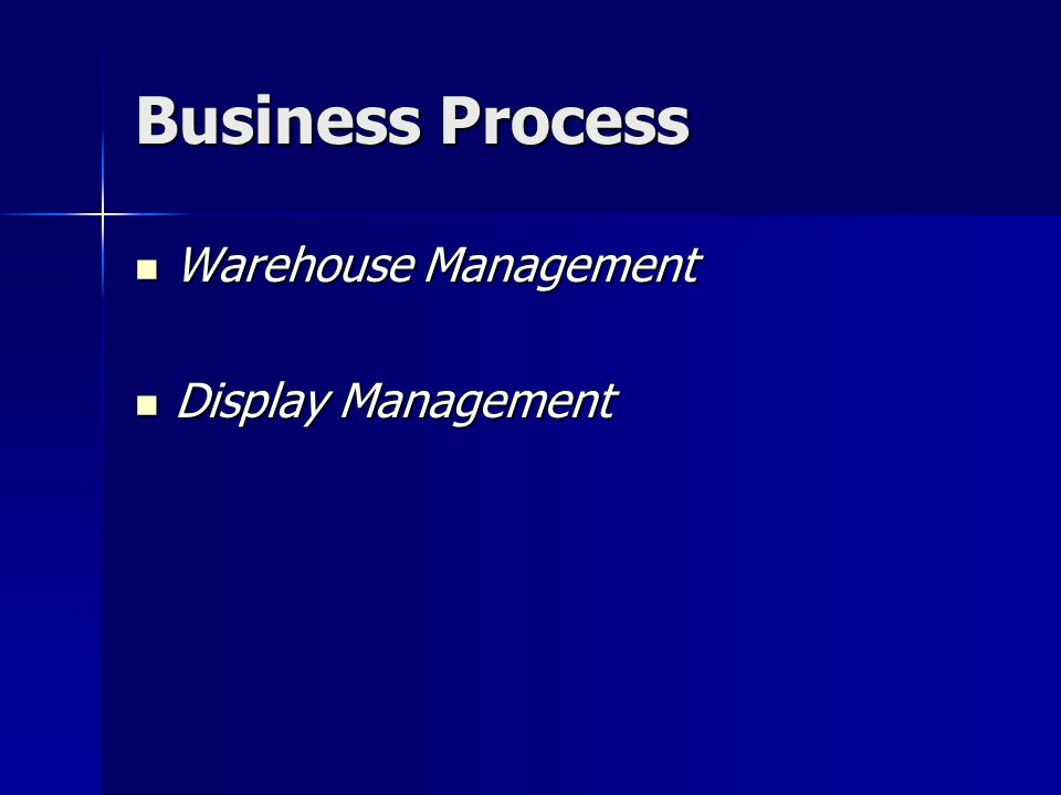 Business Process Warehouse Management Display Management
