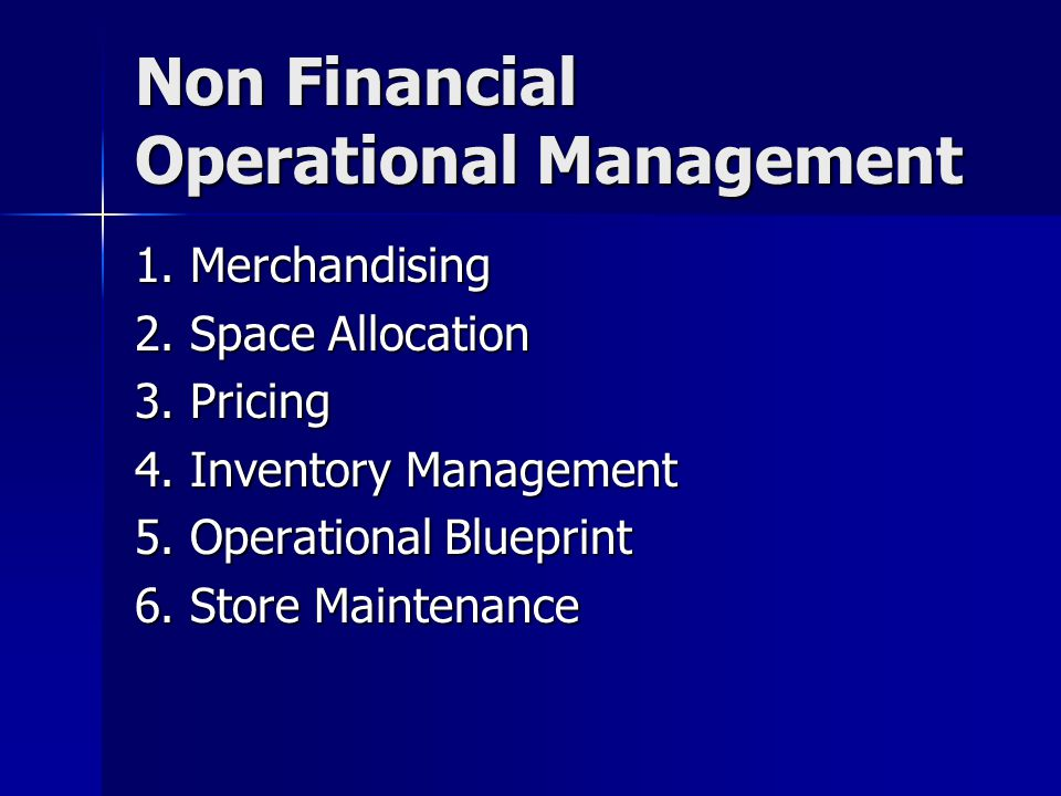 Non Financial Operational Management
