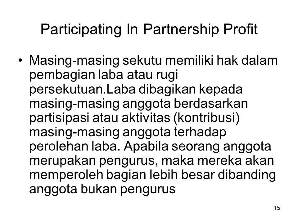 Participating In Partnership Profit
