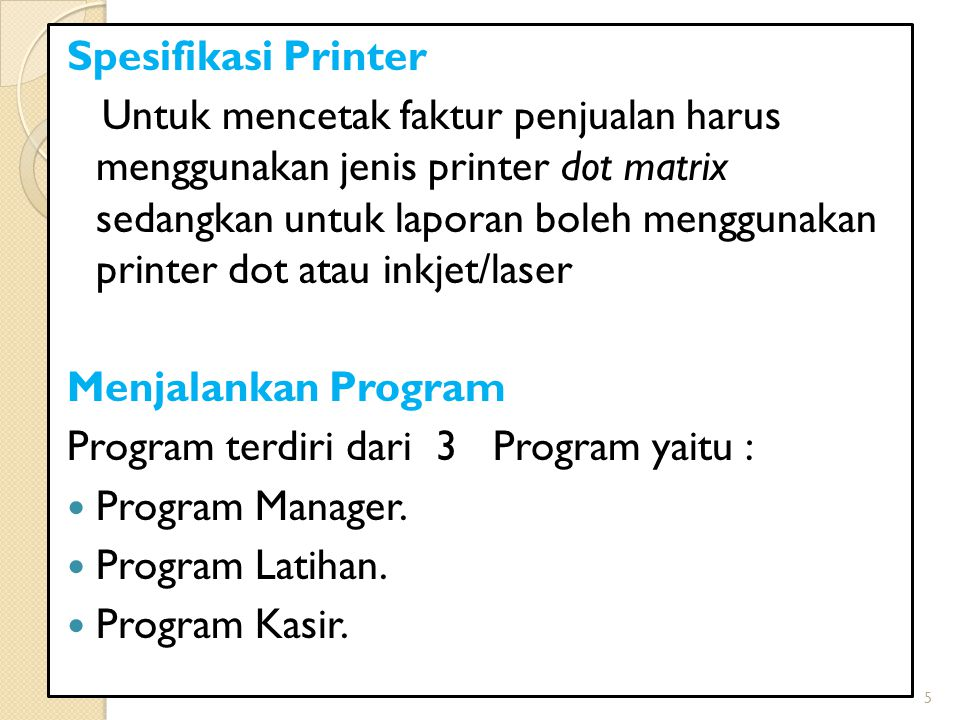 Spesifikasi Printer