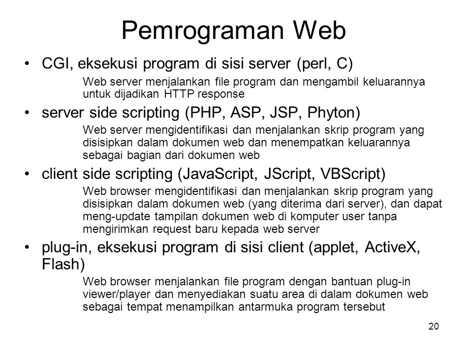 Pemrograman Web CGI, eksekusi program di sisi server (perl, C)