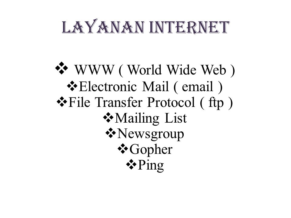Layanan Internet WWW ( World Wide Web ) Electronic Mail (  )