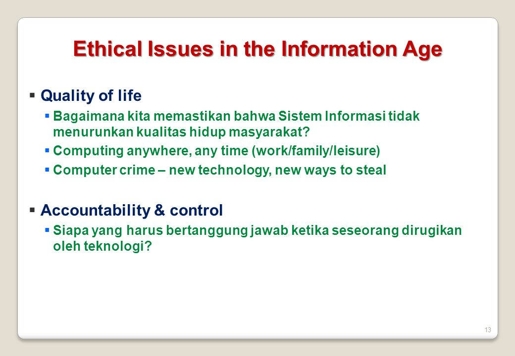Ethical Issues in the Information Age