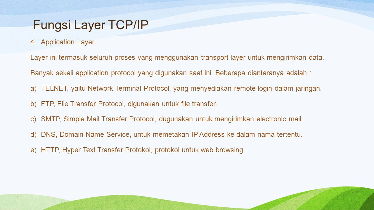 Fungsi Layer TCP/IP Application Layer