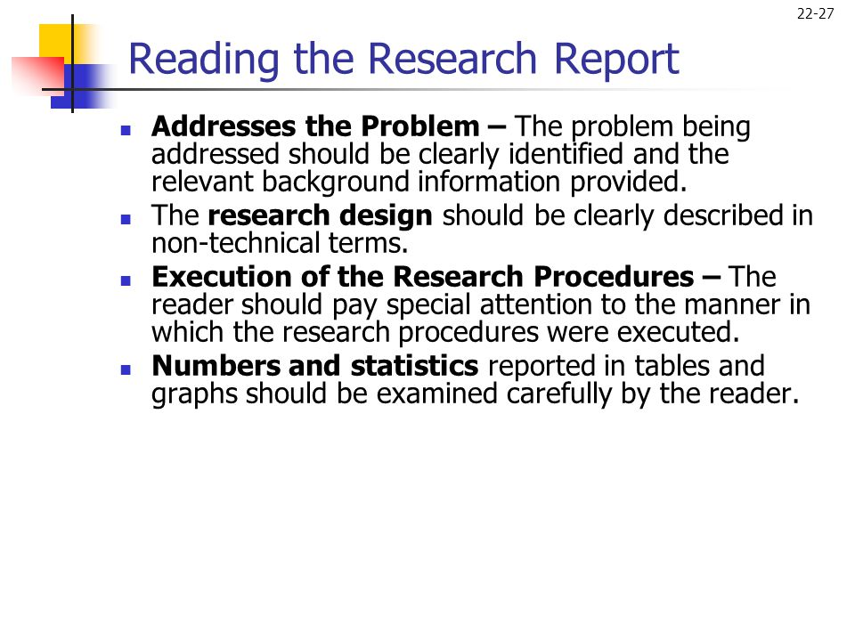 Reading the Research Report