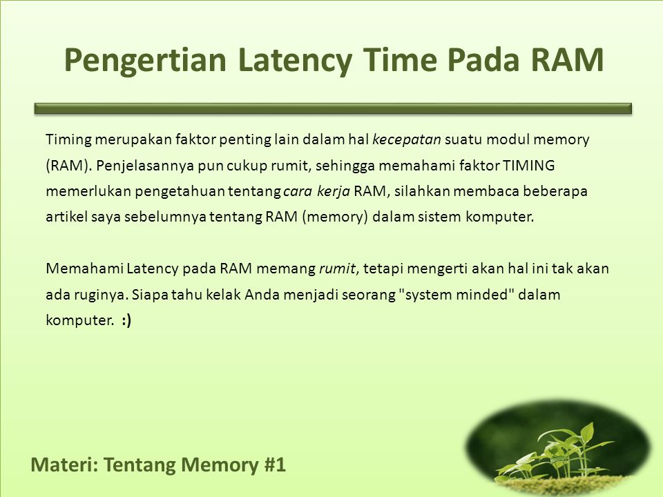 Pengertian Latency Time Pada RAM