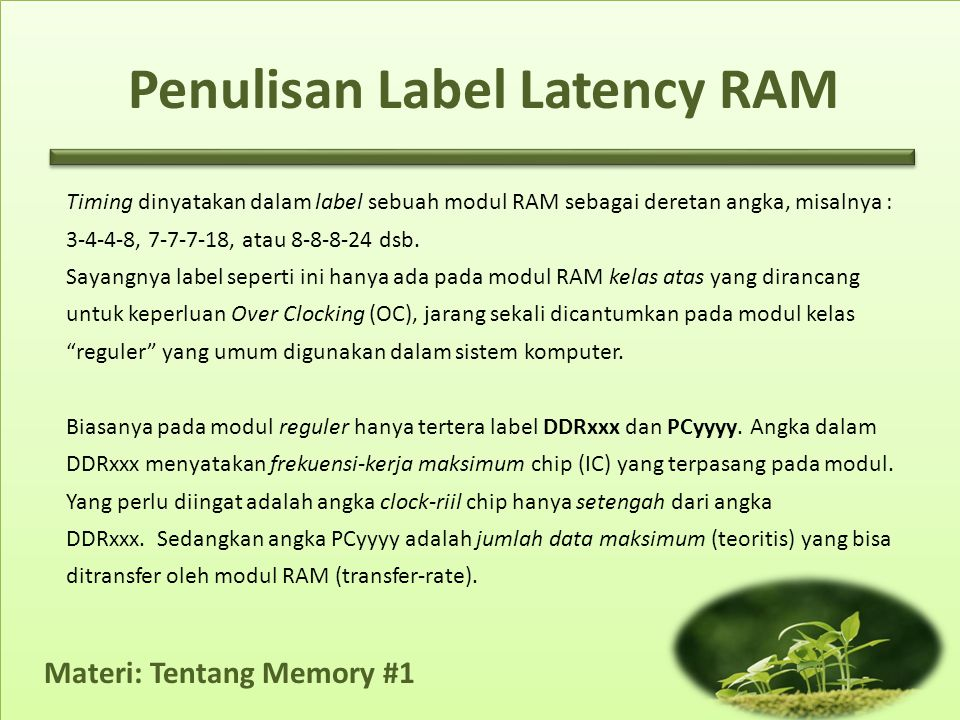 Penulisan Label Latency RAM
