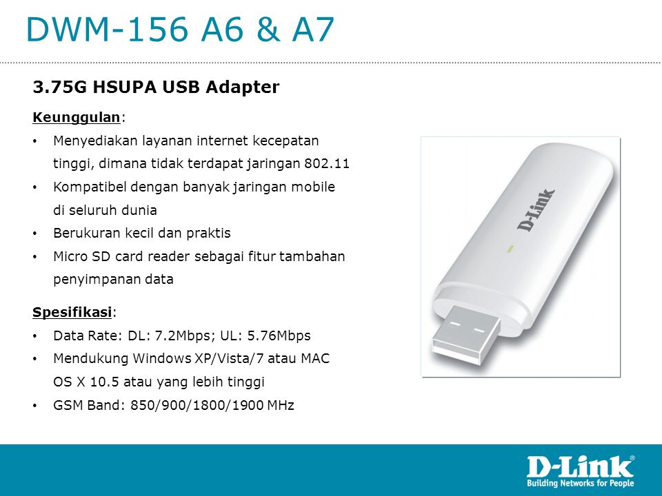 DWM-156 A6 & A7 3.75G HSUPA USB Adapter Keunggulan: