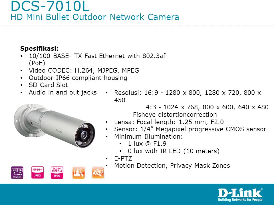 DCS-7010L HD Mini Bullet Outdoor Network Camera
