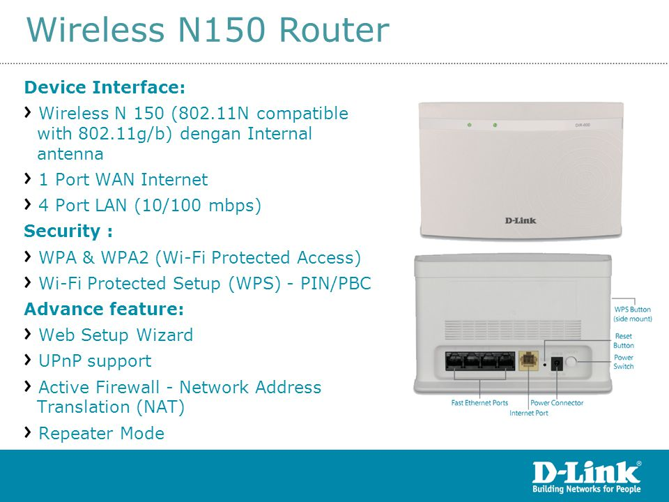 DIR-600 rev D1 Wireless N150 Router Device Interface: