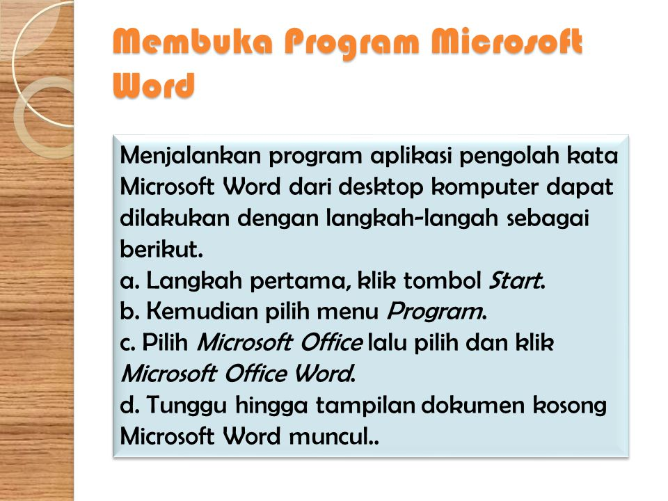 Membuka Program Microsoft Word
