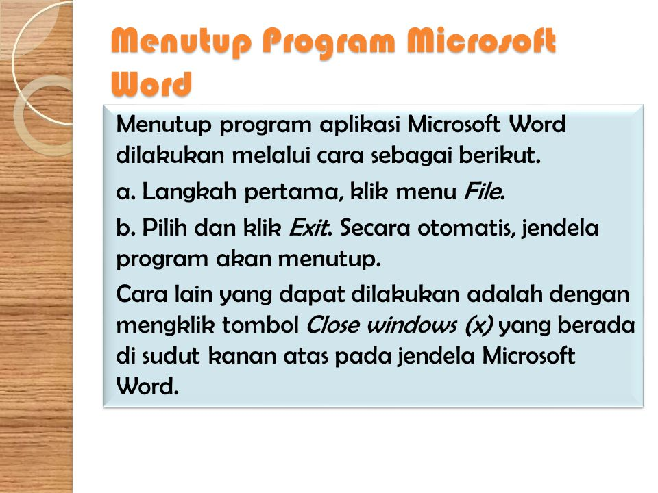 Menutup Program Microsoft Word