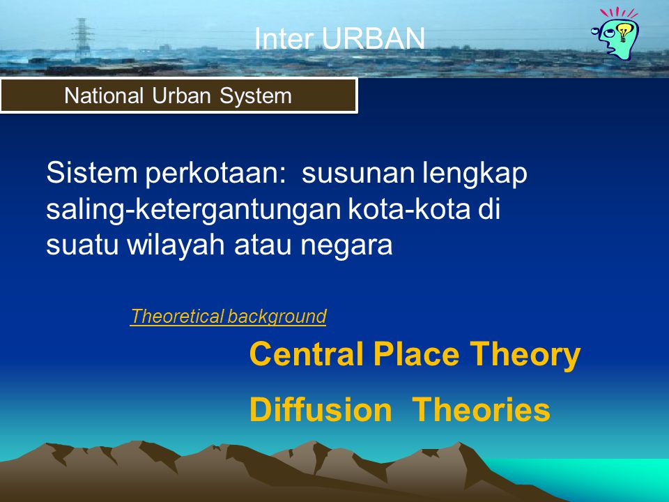 Central Place Theory Diffusion Theories Inter URBAN Inter URBAN