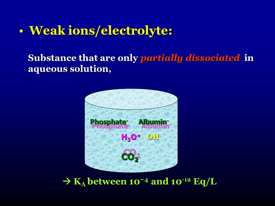 Weak ions/electrolyte: