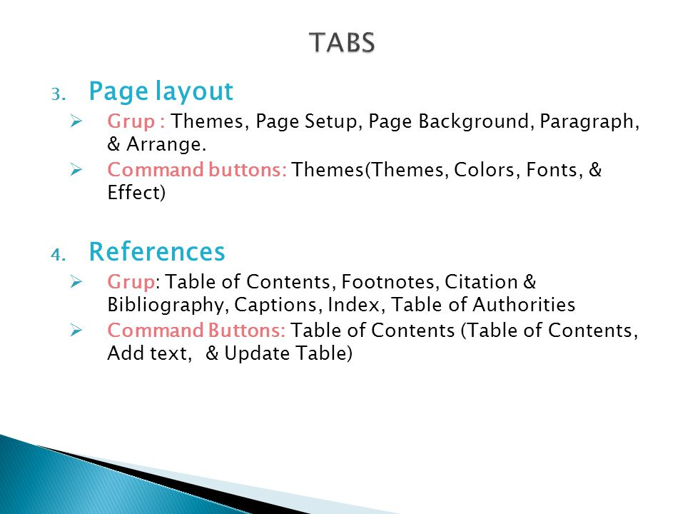 TABS Page layout References