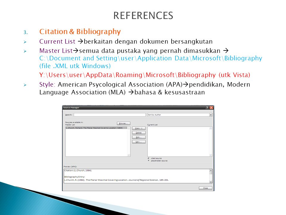 REFERENCES Citation & Bibliography