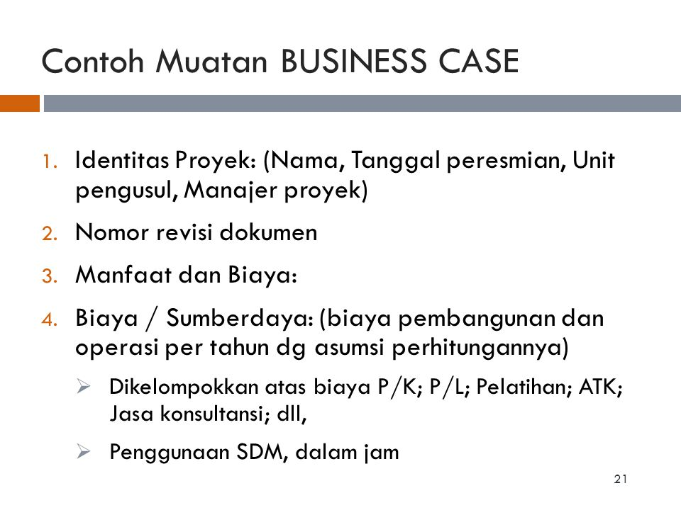 Contoh Muatan BUSINESS CASE