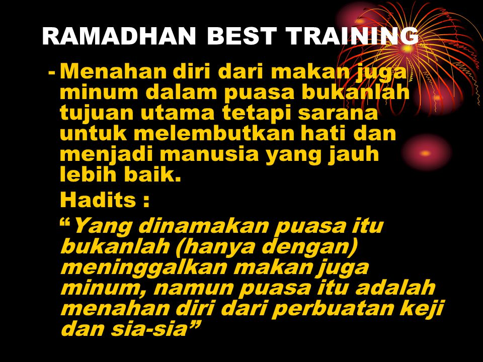 RAMADHAN BEST TRAINING